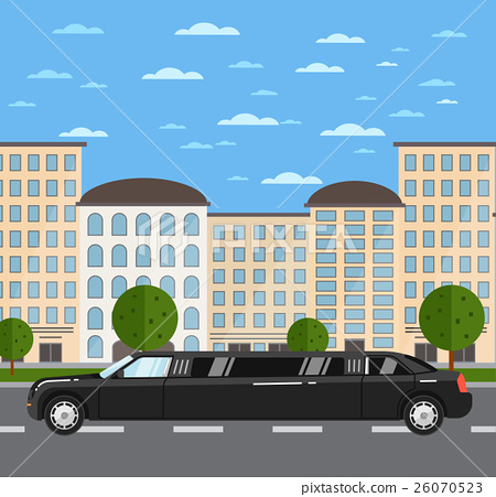 Black luxurious limousine on road in city 26070523