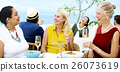 Mature Friends Fine Dining Outdoors Concept 26073619