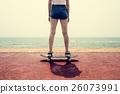 Skateboard Recreational Pursuit Summer Beach Holiday Concept 26073991