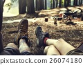 Couple Legs Relaxing Camping Outdoors Concept 26074180