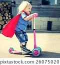 Superhero Baby Boy Using Scooter Adorable Concept 26075020