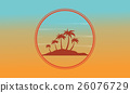 Silhouette of island at sunset scenery 26076729