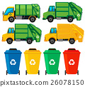 Rubbish cans and trucks 26078150