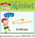 Flashcard letter T is for trombone 26078176