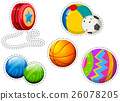 Sticker set of different balls 26078205