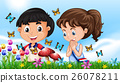 Boy and girl in the garden full of butterflies 26078211