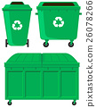 Green trashcans in three designs 26078266