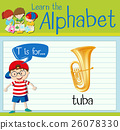 Flashcard letter T is for tuba 26078330