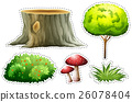 Sticker set of nature with tree and bush 26078404