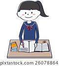水手服的學生學習的女孩,當微笑時 26078864