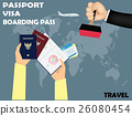 visa stamping on passport with boarding pass 26080454