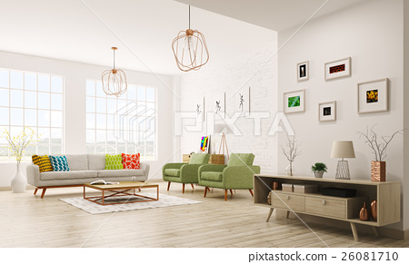 Modern interior of living room 3d rendering 26081710