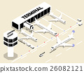 isometric style of airport with air plans 26082121