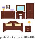 Bedroom furniture vector set 26082406