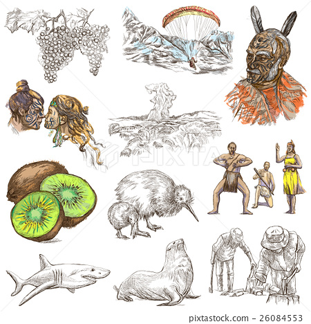 New Zealand. Pictures of Life. An hand drawings. 26084553
