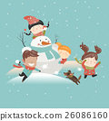 Funny kids playing snowball fight 26086160