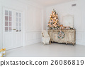 Christmas tree on wooden chest of drawers commode 26086819