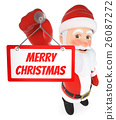 3D Santa Claus hanging a poster of Merry Christmas 26087272