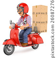 3D delivery man delivering package by motorcycle 26087276