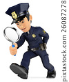 3D Policeman looking with a magnifying glass 26087278