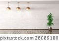Room with lamps over white brick wall 3d render 26089180