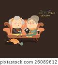 Elderly women sitting on couch 26089612