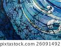Waves, curly, turquoise, hot batik, background 26091492