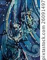 Waves, curly, turquoise, hot batik, background 26091497