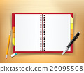 Top view of stationary notebook pen pencil eraser 26095508