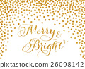 Gold glitter confetti Christmas card 26098142