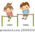 单杠 铁棒 年轻的女孩 26099359
