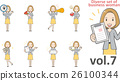 穿著黃色裙子vol.7(設置各種面部表情和姿勢)的女商人 26100344