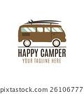 Happy camper logo design. Vintage bus illustration 26106777