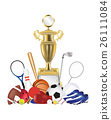 group of sport equipment with gold trophy 26111084