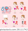 cartoon woman preventing AIDS 26111742