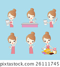 Cartoon woman coffee shop clerk 26111745