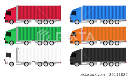 colorful truck cargo container vector 26111822