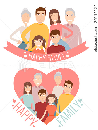Happy Family. Traditional family portrait. Vector 26112323