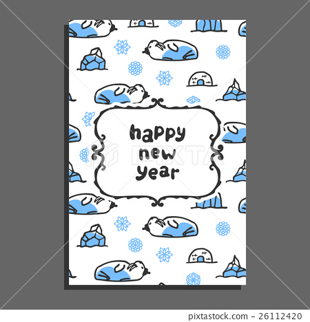 Happy new year card with cute cartoon walrus 26112420