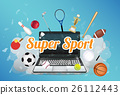 Super Sport with sport equipment floating on explo 26112443