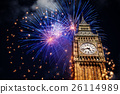 building, clock, firework 26114989