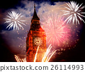building, clock, firework 26114993