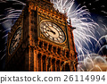 New Year in the city - Big Ben with fireworks 26114994