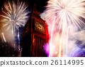 building, clock, firework 26114995