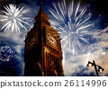 building, clock, firework 26114996