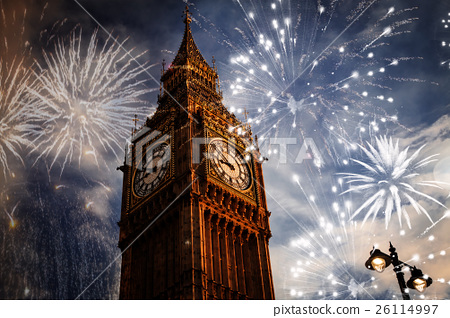 New Year in the city - Big Ben with fireworks 26114997