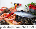 fresh seafoods and seasonings at kitchen 26118593
