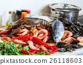 Fresh raw seafood and fish 26118603