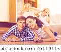 Relaxed family in domestic interior 26119115