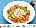 건강한 삶은 닭 가슴살 (사사미 / 닭 가슴살) 고기 샐러드. 26123738